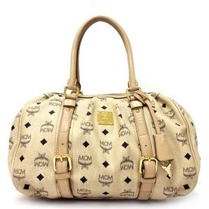 MCM Medium Vintage Visetos Beige Leather Satchel